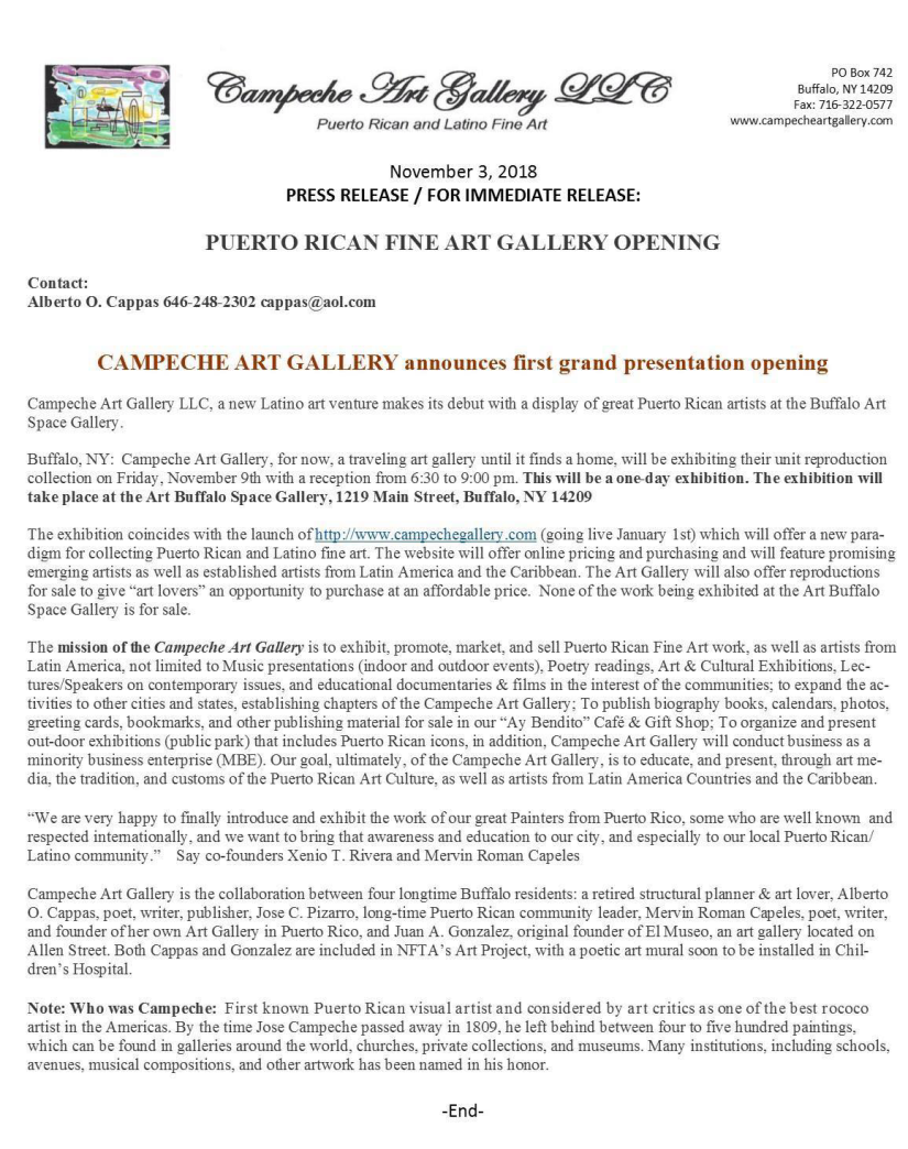 campeche art exhibition opening press release